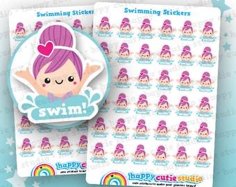 36 Cute Swimming/Swim/Lesson/Pool Planner Stickers, Filofax, Erin Condren, Happy Planner, Kawaii, Cute Sticker, UK