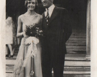 Vintage Photograph 1930s Father and Daughter on Wedding Day for Marriage Beautiful Lady Woman with Dad in Suit Flowers Lace Dress