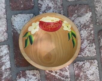 Vintage Wood Painted Popcorn bowl 1950s-1960s