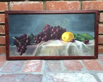 Vintage Painting Still-Life Grapes and Lemon