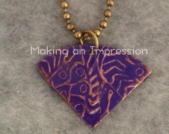 Purple brass fan necklace