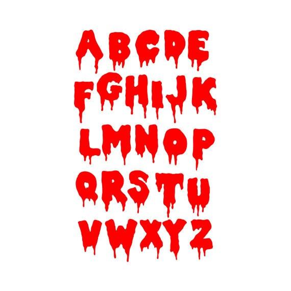 Bloody SVG Font - svg letter -bloody alphabet svg, eps