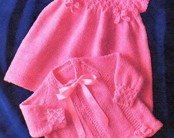 Baby Girls Dress & Jacket, Knitting Pattern. PDF Instant Download.