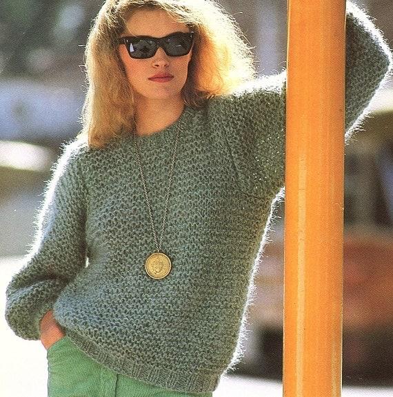 Ladies Sweater Easy & Quick Knit Knitting Pattern. PDF