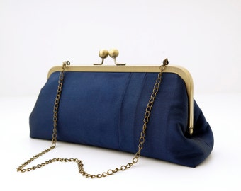 Silk clutch blue