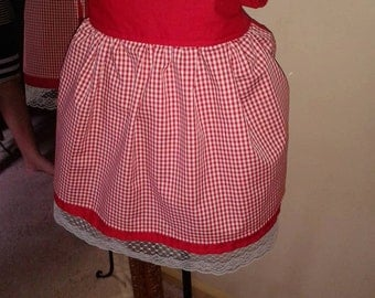 Red Tablecloth Apron