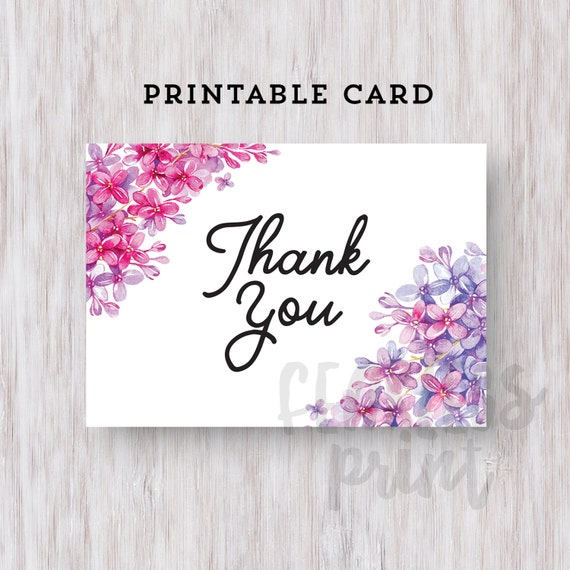 Floral Thank You Card Printable | Printable Thank you Card | Floral Card Digital | Card | Thank You Note INSTANT DOWNLOAD