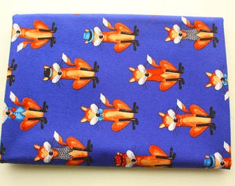 Super Cute Mr Fox / Woodland / Animal / Cotton Fabric / Dark Bold Blue /  Crafting Quilting Sewing Playmat Blanket Sheet / Half Metre
