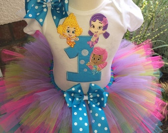 Bubble Guppies Birthday Tutu Outfit Dress Set Handmade 1st 2nd 3rd in Blue Pink Lime and Lavender