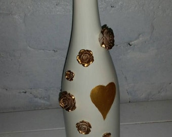 Cream and Gold Upcycled Bottle