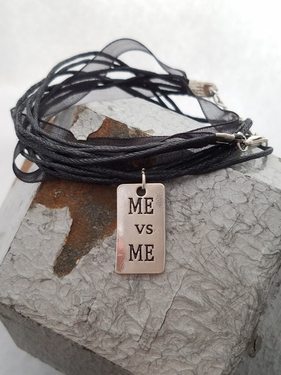 Ribbon Wrap Bracelet - Ribbon and Charm Bracelet - Me vs Me Charm - Organza Ribbon Jewelry - Ribbon Jewelry - Crossfit Jewelry - Motivation