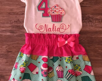 Cupcakes Birthday Outfit, Outfit With Cupcakes, Birthday Outfit, Cupcakes Skirt