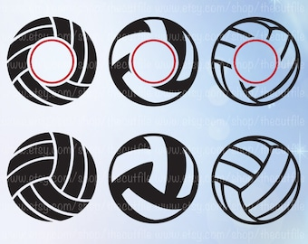 Volleyball svg, volleyball monogram frames cutting files for cameo/cricut. Sport monogram svg