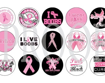 Digital Bottle Cap Image Sheet -  Breast Cancer - 1 Inch Digital Collage - Instant Download