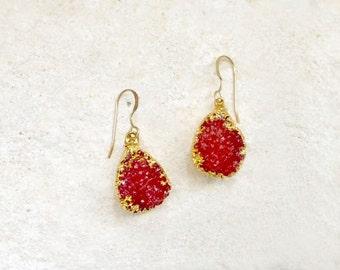Strawberry Druzy Earrings, 14k gold-fill