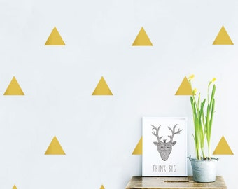 Gold Triangle Decals, Golden Triangle Stickers, Gold Vinyl Triangle Wall Art , Removable Vinyl Decal for Nursery,Geometric wall decal