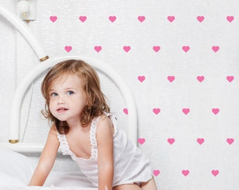 Hearts WALL DECAL, Mini Heart wall Decal, Patterned Wall Sticker, Removable Vinyl Decal for Nursery, Kids wall decor