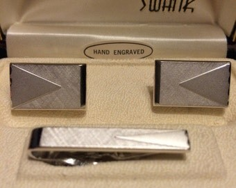 New old stock Swank silver cufflinks and tie bar set mid century modern Mad Men 1950s 1960s