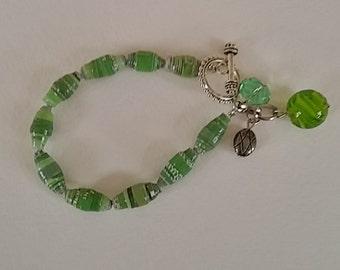 Paper Bead Bracelet,Paper Bead Jewelry,Beaded Bracelet,OOAK,Charms, stackable bracelet