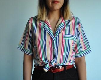 Vintage size L Multi colored striped shirt