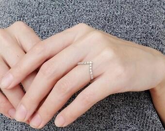 cz chevron ring, chevron ring, double chevron ring, v ring, chevron, adjustable ring, double v ring, geometric ring, double ring, midi ring