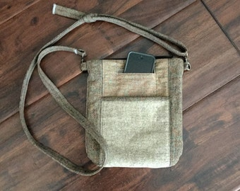 Messenger Bag with Zipper and Front Pocket