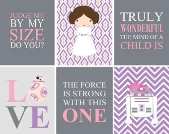 Star Wars Digital Prints for girl's nursery or bedroom - Pink and Purple