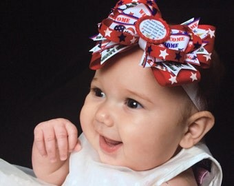 Welcome Home Daddy, My Daddy My Hero Bottlecap Bow Patriotic Homecoming Girl's Bow