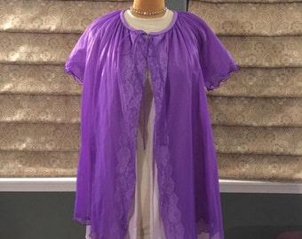 Vintage Royal Purple Chiffon Peignoir