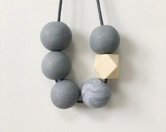 Glitter Grey Statement Bead Necklace, Geometric Necklace, Minimalist Necklace Polymer Clay Necklace, Chunky Necklace, Boho Festival, Gift