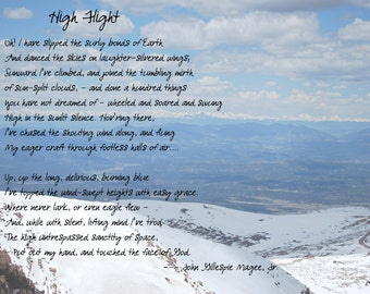 High Flight  photo photography chromogenic prints poem Colorado Rockies Rocky Mountains blue white snow clouds gift McGee