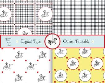 Knight Digital Paper // Instant Download // DIY // Scrapbook // Craft //Kids