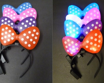 Led Light Up Plastic Polka Dot Bow Headband For Your Halloween New Year Birthday Party Favor