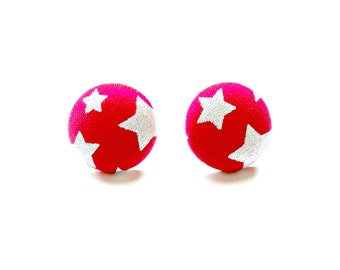 Red Fabric Button Earrings-Red with Silver Stars  Earrings-Button Earrings-Button Clip Ons-Button Studs-Star Earrings-Hypoallergenic-Kids