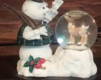 Rudolph and Snowman snow globe