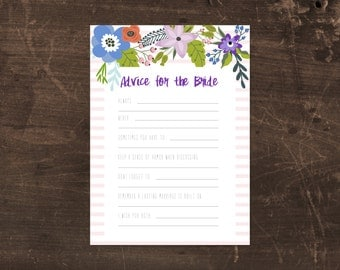 Printable bridal shower game - Advice for the Bride - floral
