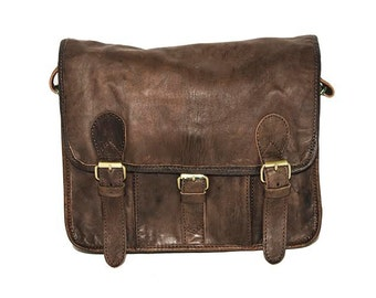 Coco Grey Leather Messenger Satchel   Festival Style