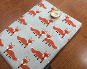 """Kindle paperwhite cover, kindle voyage, 6"""" Fire HD, Kobo, Nook cover case, orange foxes"""