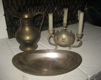 3 silver plated?/tarnished... bread plate, candle holder & pitcher