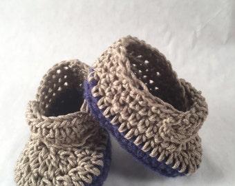 boy shoes, slippers, blue & tan, cotton, acrylic