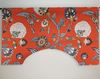Robert Allen Auretta Persimmon Custom Valance Curtain, Large Floral, Lined