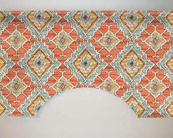 P Kaufmann Sundance Custom Valance Curtain, Tangerine Blue Yellow, Contemporary, Tribal Ikat, Lined