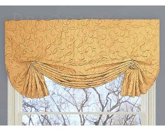 Embroidered Faux Silk Custom Valance in Butter Yellow Faux Shade