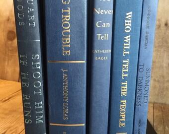 Blue Decorative Vintage Books | Wedding Decor Centerpiece | Wedding Decoration | Wedding Photo Prop | Wedding Table Decor