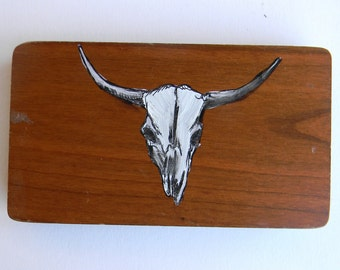 Bull Skull Painting On Recycled Wood
