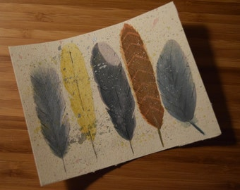 Watercolor Feathers Painting (Small)