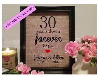 FRAMED 30 year wedding anniversary gift, 30th wedding anniversary, Wedding, Anniversary gift, thirty years down, 30 years down forever to go