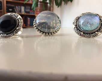 Glass stone rings