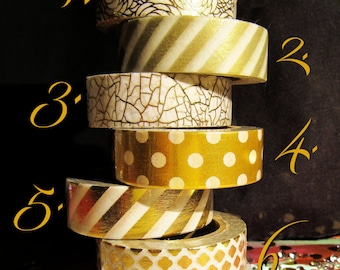 Gold & White Washi Tape - Choice of Designs
