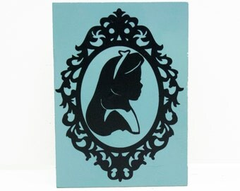 "Alice in Wonderland - Alice Silhouette in Cameo Frame - 4""x6"" Vinyl Painted Wood"